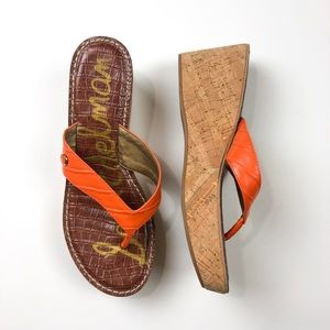 Sam Edelman Romy Cork Wedge Sandals 9.5 Orange